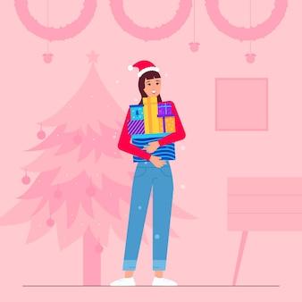 Mujer sosteniendo un montón de regalos de navidad