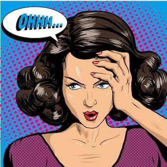 Mujer sosteniendo su cabeza y pensando en problemas