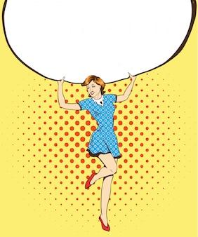 La mujer sostiene el cartel de papel blanco en blanco. pop art comic estilo retro ilustración.