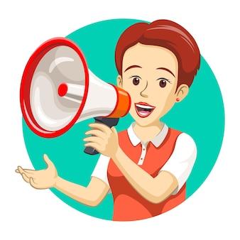 Una mujer sostiene un megáfono para hacer un anuncio.