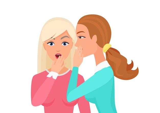 Mujer susurrando chismes, sorprendida, dice rumores a otro personaje femenino. ilustración plana de mujer secreta chismeando