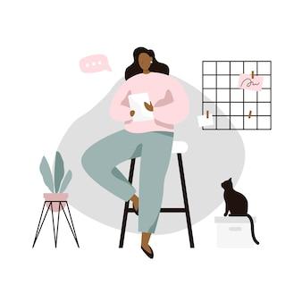 Mujer con tableta en acogedora habitación. mujer leyendo noticias o libro en tableta. ilustración del vector en estilo plano.