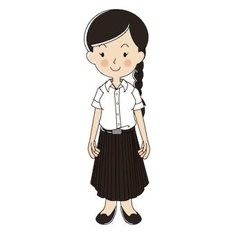 Mujer tailandesa en uniforme de estudiante universitario
