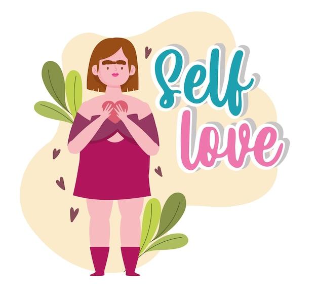 Mujer de talla grande con ilustración de amor propio de personaje de dibujos animados de corazón