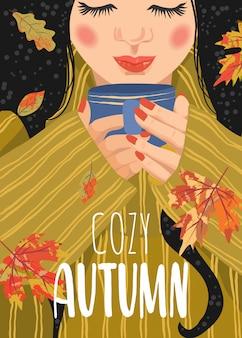Mujer con una taza de té y hojas caídas.
