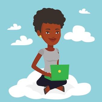Mujer con tecnología de computación en la nube.