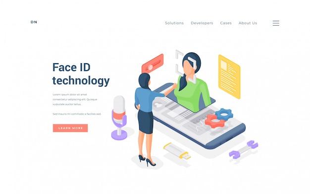 Mujer con tecnología face id. mujer isométrica que usa la aplicación face id en un teléfono inteligente moderno en el banner del sitio web de protección de datos