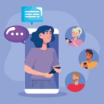 Mujer en teléfono inteligente con ilustración de burbujas de discurso y comunidad