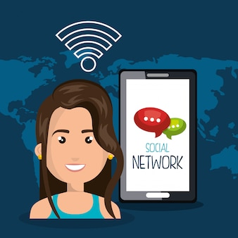 Mujer teléfono inteligente wifi en línea aislado