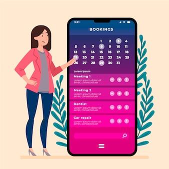Mujer con teléfono móvil creando un recordatorio
