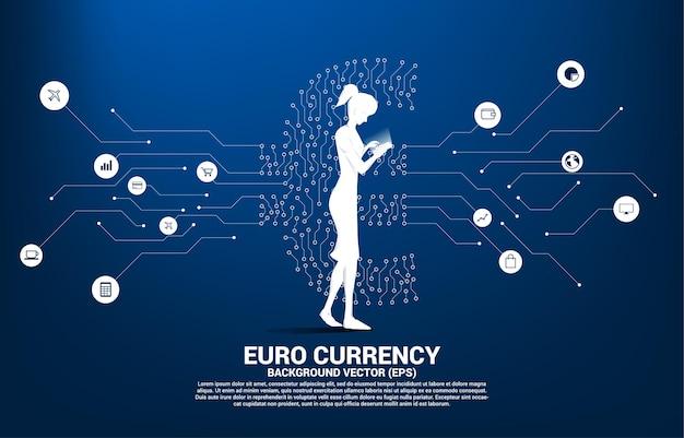 Mujer con teléfono móvil y moneda euro icono de dinero
