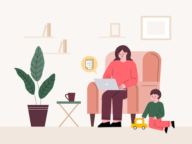 Mujer teletrabajando en casa. trabajando mientras cuida a un niño. independiente, licencia parental.