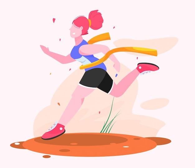 Mujer termine la primera ilustración plana