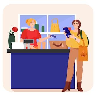 Mujer en tienda y cajero con tarjeta de crédito ilustración del concepto de compras mujer pagando mercancías