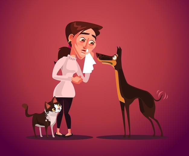La mujer tiene alergia a los animales.