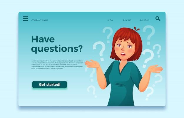 La mujer tiene preguntas. cuestionando persona femenina, pregunta confundida y pensante. ilustración de dibujos animados de página de inicio de preguntas frecuentes