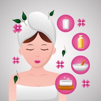 Mujer con toalla spa