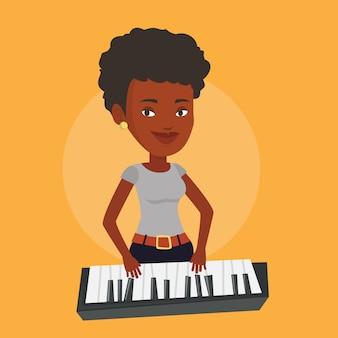 Mujer tocando la ilustración del piano.
