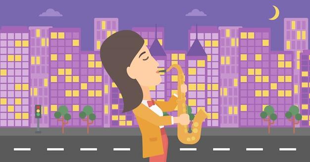 Mujer tocando el saxofón.