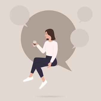 Mujer tomando café se sienta en el gran discurso de burbuja