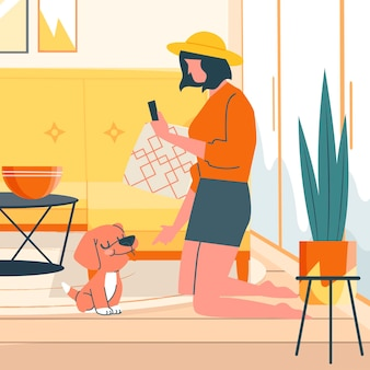 Mujer tomando una foto de su perro