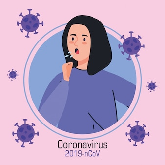 Mujer tosiendo enferma de coronavirus 2019 ncov