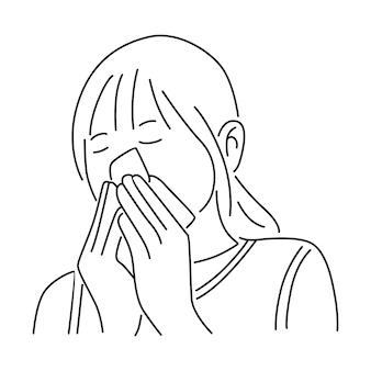 Mujer tosiendo enferma de virus
