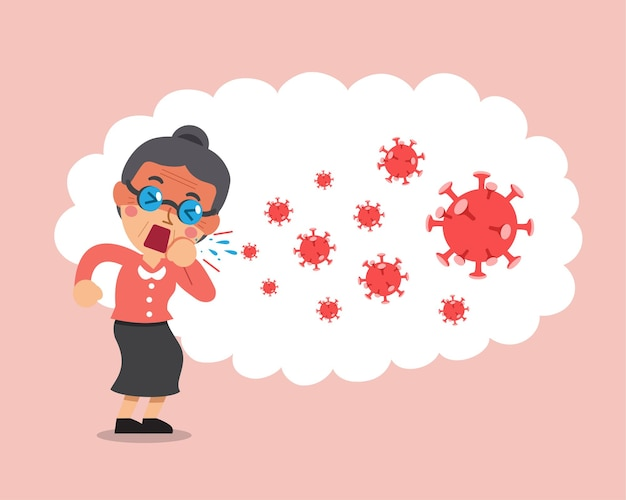 Mujer tosiendo y propagando virus en el aire.