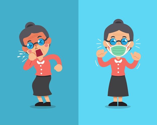 Mujer tosiendo y usando mascarilla protectora