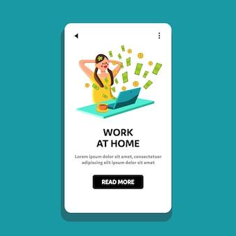 Mujer trabaja en casa negocio o inversión