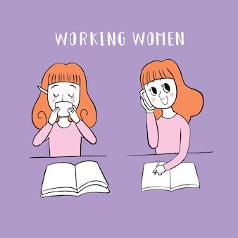 Mujer trabajadora beber café y hablando de vector de teléfono.