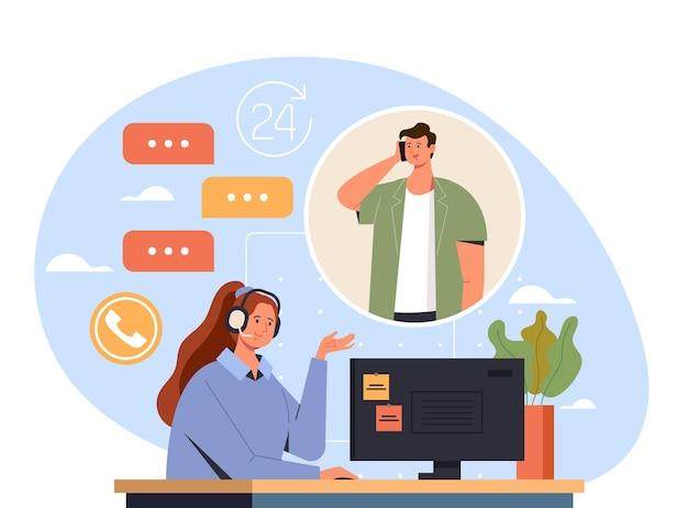 Mujer trabajadora del centro de llamadas consultar concepto de cliente hombre, ilustración