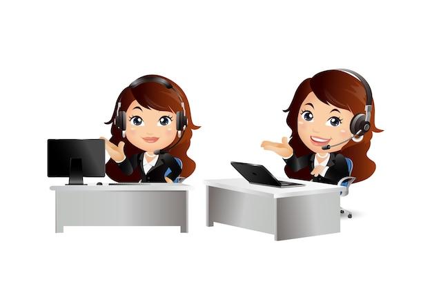 Mujer trabajadora en servicio al cliente