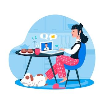 Mujer trabajando desde casa y perro