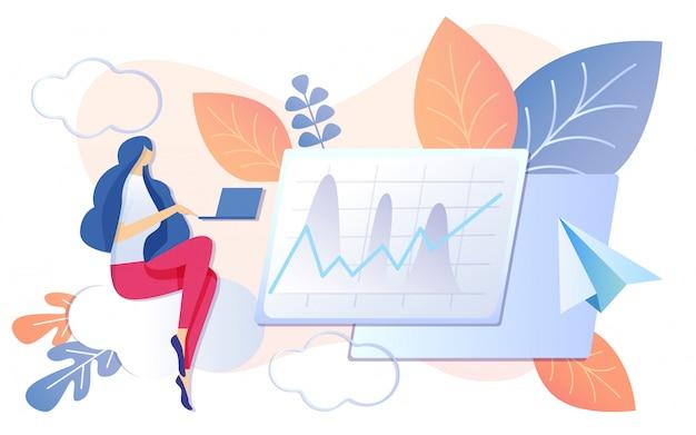 Mujer trabajando en cuaderno financiero gráfico crecer