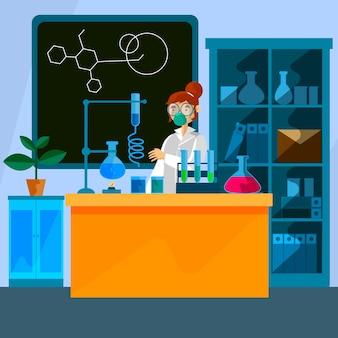 Mujer trabajando en laboratorio de ciencias
