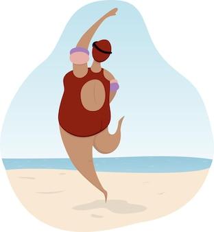 Mujer en traje de baño corre a nadar en el mar