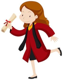 Mujer en traje de graduación rojo