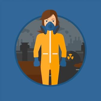Mujer en traje de protección radiológica.