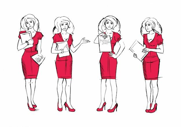 Mujer en trajes de negocios con contrato o documento, agente de seguros.