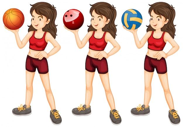 Mujer con tres tipos diferentes de bolas.