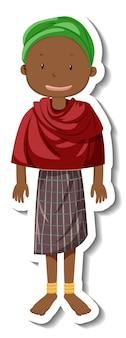 Una mujer tribal con traje de tribu africana sobre fondo blanco.