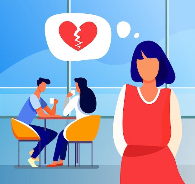 Mujer triste con corazón roto de pie junto a la feliz pareja