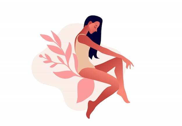 Mujer triste ilustración de vector de mujer incontinencia urinaria, cistitis, micción involuntaria