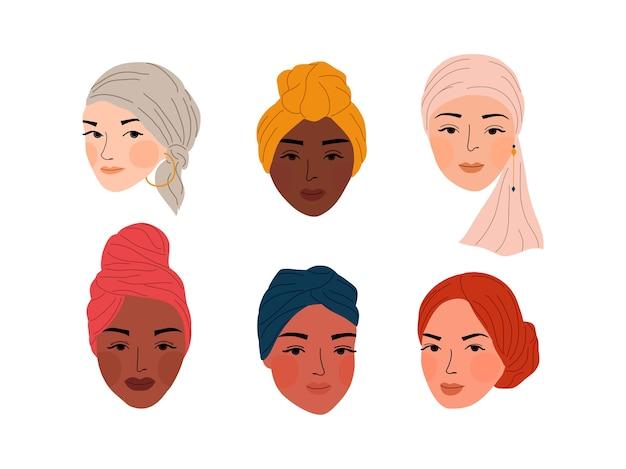 Mujer turbante diadema volante cáncer quimio pelo sombreros ilustración. conciencia del cáncer de mama.