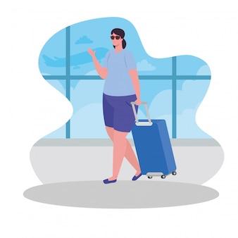 Mujer turista caminando con equipaje en la terminal, viajera con diseño de ilustración de vector de equipaje