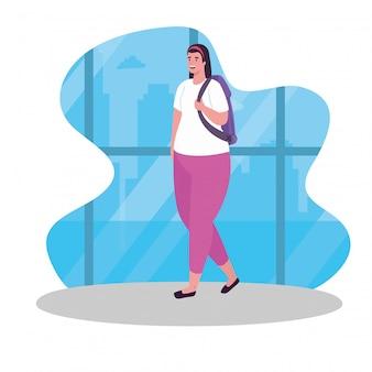 Mujer turista caminando con mochila, viajera con mochila, diseño de ilustraciones vectoriales