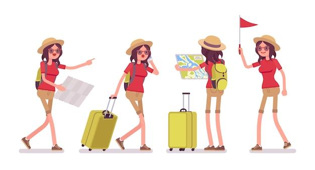 Mujer turista en situaciones de viaje