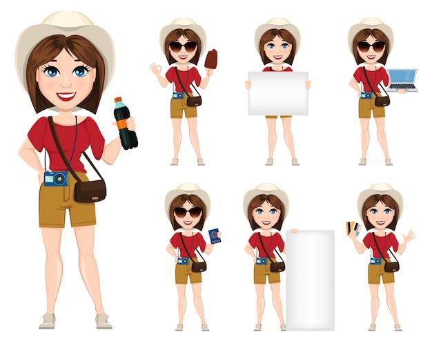 Mujer turista, viajero