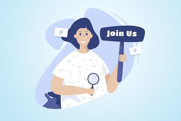 Una mujer con únete a nosotros firmar para el concepto de ilustración de contratación